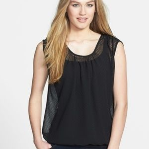 Pleione Black Sheet Top, Size Large